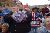 (10/07/04, Morrison, CO) President Bush addresses the crowd at Red Rocks in Morrison, CO Monday...