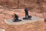 [(Morrison, CO,Shot on: 10/11/04)] Special forces stand gaurd on top of a building where President...