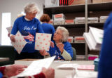 10/27/2004 Golden- Miriam Rusley, left, and Lenore Bible process absentee ballots at the Jefferson...