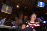 [Denver, CO - Shot on: 10/13/04] Republican supporter Karen Marshall, of Westminster cheers as...