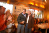 [(Edwards, CO,Shot on: 10/28/04)] U.S. Congressman Mark Udall (left) introduces U.S. Senatorial...