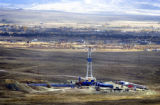 (Pinedale, Wyoming., October 4, 2004) A gas drilling rig , a couple of miles outside of Pinedale,...