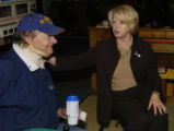 (FORT COLLINS Colo., October 14, 2004)  Congresswoman Marilyn Musgrave  (right) talks to Army vet...
