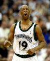 Carlos Gonzalez/Star Tribune 3/18/2004----Timberwolves Sam Cassell celebrates a 3 point score in...
