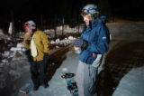 GEORGETOWN, CO., OCTOBER 15, 2004) Snowboarders Nick Cecchi, 17, left, and Allen Livingston, 17,...