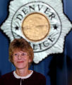 (DENVER, CO., OCTOBER 29, 2004)  Brenda Turner, victim of a attempted robbery speaks to members of...