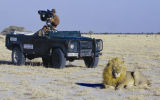 "Wildlife Film director Tim Liversedge. In Kalihari desert shooting ""Roar: Lions of the..."