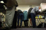 (10/18/2004) Boulder, Colorado-Boulder County residents cast their votes on the first day of eraly...