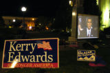 "(10/18/2004) Boulder, Colorado-Michael Moore's ""Fahrenheit 911"" plays on the lawn of the..."