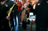 11/02/2004 Denver, Colo.-Ruth Westheimer, 85, Denver, waits in line at a polling station at 1st...