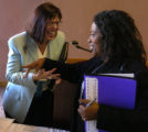 (DENVER, Colo., Weds. Oct. 20, 2004) Sarita Brown, left, the featured speaker at a discussion...