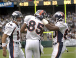 (OAKLAND, CA., OCTOBER 17, 2004)  Denver Broncos' #16, Jake Plummer,left, and #80, Rod Smith,...