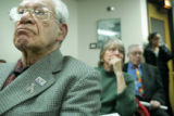 Sidney Spiegel, cq, who represents the Colorado Senior Lobby, listens to customer testimony at the...