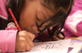 Crawford Elementary School student Mariana Sanchez (CQ), 10, of Aurora works a reading...