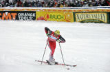Austrian skiing great Hermann Maier show his disappointment with his time after his second run at...