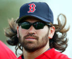 NY175 - ** FILE ** Boston Red Sox outfielder Johnny Damon runs during a spring training workout,...