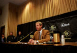 The 2005 University of Colorado football  head coach Gary Barnett starts the begining of a press...