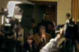 University of Colorado head football coach Gary Barnett walks into a press conference Thursday...