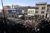 Larimer Square in Denver is packed as over 400 tuba players perform at the 31st Annual Tuba...