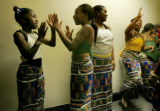 Members of the Heritage African Drum and Dance group (left to right) Akira Huger (cq) 8, Elana...