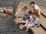 Denver, Co. 4/15/04- At Confluence Park,  the Hicken family from Parker family decided to cool...