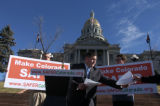 Mason Tvert, Director of SAFER (Safer Alternative For Enjoyable Recreation), hands out press...