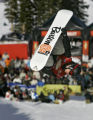 Snowboarder Ross Powers (#2) gets inverted while airborne in the Superpipe at the Chevrolet U.S....