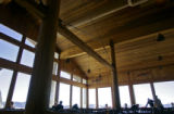Lunch guests sit under the impressive wooden beams in the Two Elk Lodge in the back bowls of Vail...