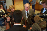 (BROOMFIELD, Colo., April 19, 2004) CU Chancellor Dr. Richard Byyny answers questions outside the...