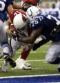 NAD113 - Indianapolis Colts defensive tackle Larry Tripplett, right, stops Arizona Cardinals...