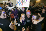 "Hyatt Regency room service team members show their spirit at a pep rally entitled ""Mission:..."