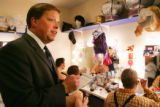Paul Dwyer, producer at the Country Dinner Playhouse in Greenwood Village, talks with actors...