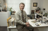 (DENVER, Colo., April 22, 2004)  William Havu at his desk within his gallery, 1040 Cherokee St....