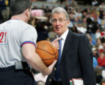 SPECIAL TO ROCKY MOUNTAIN NEWS--Denver Nuggets assistant coach Tim Grgurich, back, chats with...