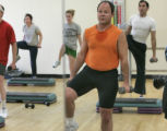 Jim Nimmer (cq), 45, of Denver does step aerobics at the downtown YMCA located at 15 east 16th Ave...