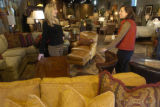 Ashley Campbell(cq), left, owner of Ashley Campbell, a new home furnishing store in Cherry Creek...