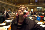 (Colorado Springs, Colo., May 4, 2004) State Representative Alice Borodkin jokes with a corsage...