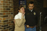 Kathy McCormick (left) talks to the media Wednesday afternoon about her missing mom, Patricia...