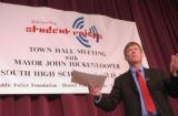 (DENVER, Colo., April 15, 2004) Mayor John Hickenlooper addresses the audience during the question...