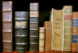 Photo of sixteenth century lawbooks on the bookshelf in Don Bain's office.  In My Office feature...