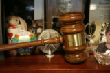 Giant gavel for being the Colorado Republican Chairman on the bookshelf in Don Bain's office.  In...