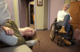 (Denver,CO,Shot On 4/8/04-- Ann Marie Hochhalter, 22, (left) receives treatment at Heritage...