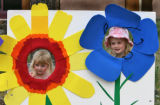 Rachel Schimps, 3 years old, and her sister Catherine Schimps, left to right, 5 years old, from...