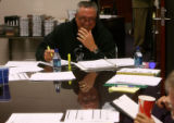 Rockies manager Clint Hurdle (cq) laughs during a pre-game strategy meeting in the Rockies...