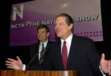 Former Vice President Al Gore speaks to the media as Joel Hyatt looks on, during a press...