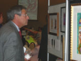 Alzheimer's Association Memories in the Making Art Auction - Ed Sardella admire the artwork at the...