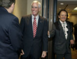 (DENVER,Colo., May 4, 2004) State Senator Ken Chlouber (right) -R- Leadville, gives U.S. Senate...