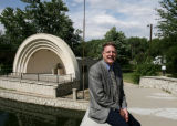 Dan Centa (cq), Director of Pueblo's Public Works, sits in front of the band shell in Mineral...