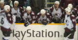 (San Jose, Ca., April 22, 2004)  The Colorado Avalanche bench catch their breath during a TV...