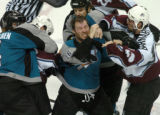 (San Jose, Ca., April 22, 2004)  Colorado Avalanche's #38, Matthew Barnaby, right, punches San...
